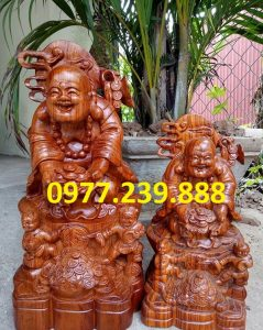 tượng phật di lặc nhị phúc dâng tiền gỗ hương 30cm