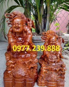 tượng phật di lặc nhị phúc dâng tiền gỗ hương 40cm