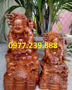 tượng phật di lặc nhị phúc dâng tiền gỗ hương 50cm