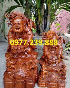 tượng phật di lặc nhị phúc dâng tiền gỗ hương 60cm