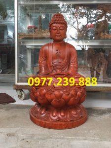 tượng phật thích ca bằng gỗ hương 60cm