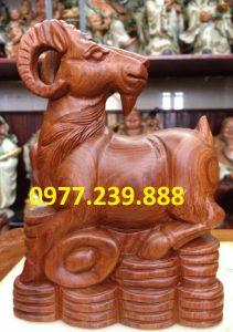 tượng phong thủy dê gỗ hương