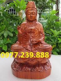 tượng quan âm gỗ hương 20cm