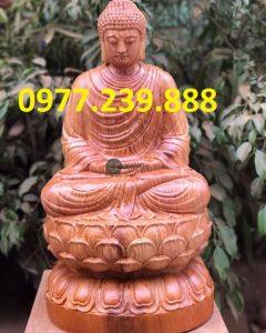 tượng thích ca gỗ hương 15cm