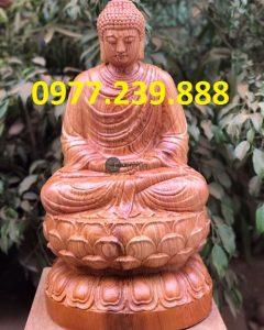 tượng thích ca gỗ hương 30cm