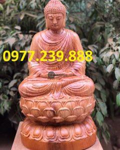 tượng thích ca gỗ hương 40cm