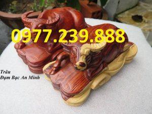 tượng trâu bằng gỗ hương 20cm