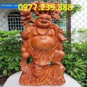 tuong phat di lac ganh dao cuoi ca chep go huong 20cm