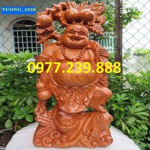 tuong phat di lac ganh dao cuoi ca chep go huong 30cm