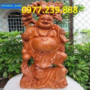 tuong phat di lac ganh dao cuoi ca chep go huong 40cm