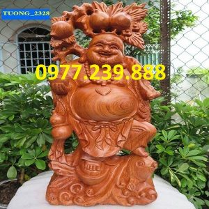 tuong phat di lac ganh dao cuoi ca chep go huong 50cm
