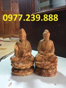 tuong phat ong bang go huyet long 40cm