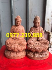 tuong phat ong thich ca bang go huong 20cm