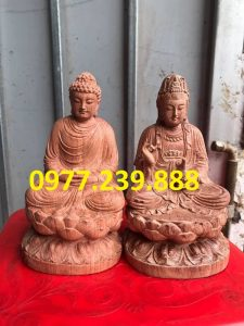 tuong phat ong thich ca bang go huong 30cm