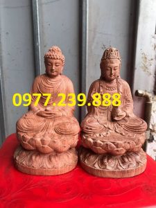 tuong phat ong thich ca bang go huong 40cm