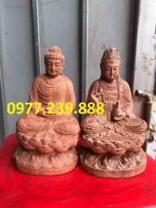 tuong phat ong thich ca bang go huong 50cm