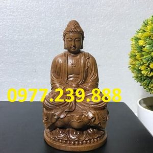 tuong phat thich ca go bach xanh 15cm