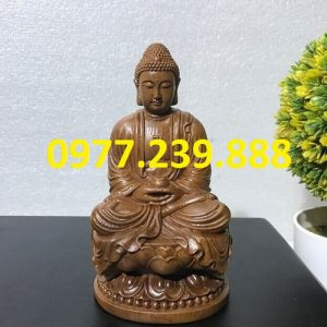 tuong phat thich ca go bach xanh 50cm