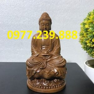 tuong phat thich ca go bach xanh 60cm