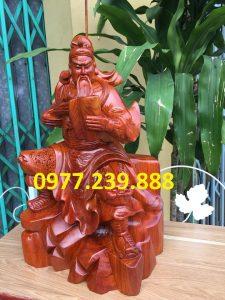 Tượng quan công quan vân trường bằng gỗ hương 40cm