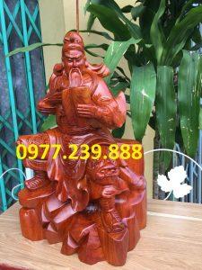 Tượng quan công quan vân trường bằng gỗ hương 40cm - Copy