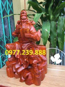 Tượng quan công quan vân trường bằng gỗ hương 60cm