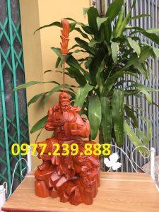 tượng quan công gỗ hương ngồi đọc sách