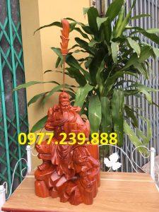 tượng quan công gỗ hương ngồi đọc sách 30cm