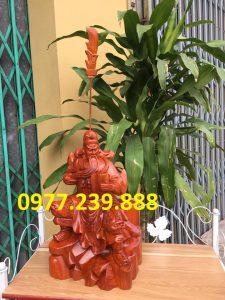 tượng quan công gỗ hương ngồi đọc sách 50cm