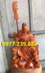 tượng quan công gỗ hương ngồi đọc sách bằng gỗ hương 60cm