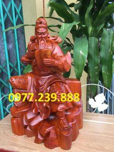 tượng quan công gỗ hương ngồi đọc sách giá rẻ
