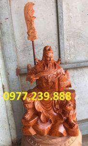 tượng quan công gỗ hương ngồi đọc sách hương cao 50cm
