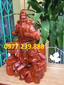 tượng quan công gỗ hương ngồi đọc sách mua bán