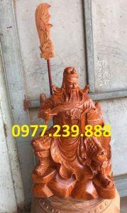 tượng quan công hương ngồi đọc sách gỗ hương cao 50cm
