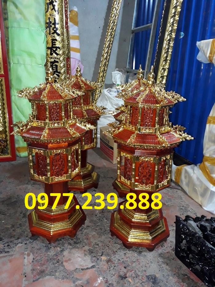 đèn thờ mái chùa bằng gỗ hương thiếp vàng