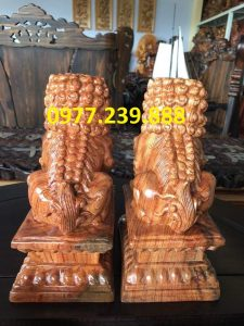 đôi kỳ lân bằng gỗ hương 40cm