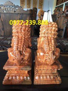 đôi kỳ lân gỗ hương 40cm