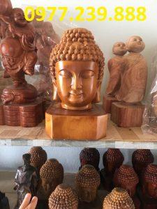 đầu tượng phật bằng gỗ bách xanh