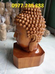 đầu tượng phật bằng gỗ bách xanh 40cm