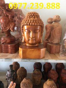 đầu tượng phật bằng gỗ bách xanh 40cm giá rẻ