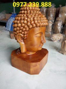 đầu tượng phật gỗ bách xanh 20cm
