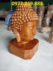 đầu tượng phật gỗ bách xanh 30cm