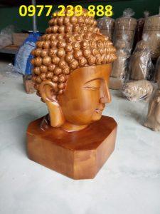 đầu tượng phật gỗ bách xanh 40cm