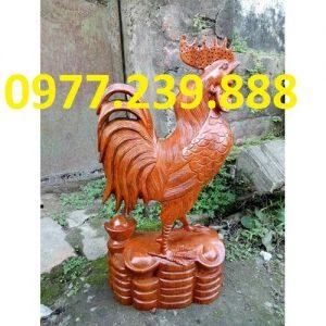 Tượng gà phong thủy gỗ hương 60cm