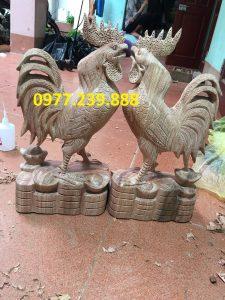 Tượng gà trống gỗ hương