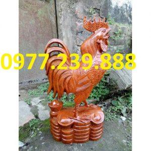 Tượng gỗ con gà phong thủy gỗ hương 50cm