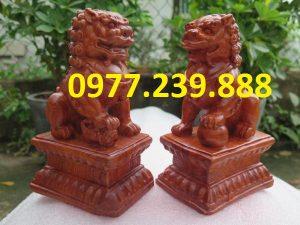bán Cặp tượng Kỳ Lân đá vân gỗ phong thủy tài lộc
