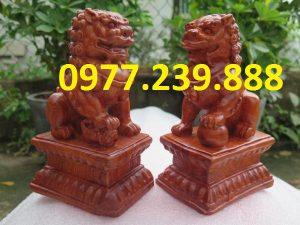 bán Cặp tượng Kỳ Lân gỗ phong thủy tài lộc