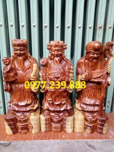 bán bộ tượng phúc lộc thọ gỗ trắc 70cm
