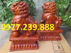 bán cặp kỳ lân bằng gỗ hương